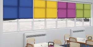 Multi coloured roller blinds in full cassette