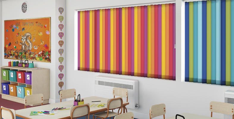 Multi coloured vertical blinds