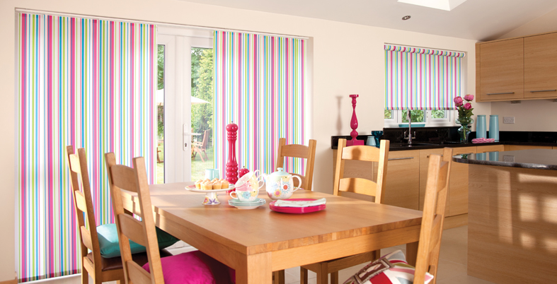Panel blind and roller blind in JuicyFruit