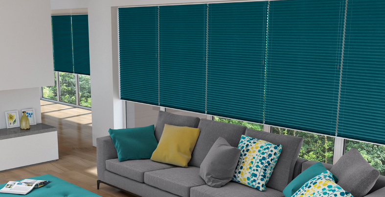 Freehanging Pleated Blind In Shotsilk Teal Brite Blinds Blog